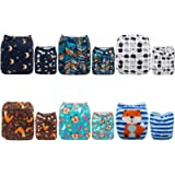 Alva Baby 6pcs Pack Pocket Washable Adjustable Cloth Diapers Nappies + 12 Inserts (Boy Color) 6DM07