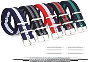 ZHUGE Unisex nylon cinturino orologio multicolor Balistico Cinturino Nato Cinturino in Nylon 5 pezzi