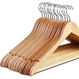 STAR WORK Natural Finish Solid Wood Garment Hangers with Non Slip Bar and Precisely Cut Notches-10-360 Degree Swivel…
