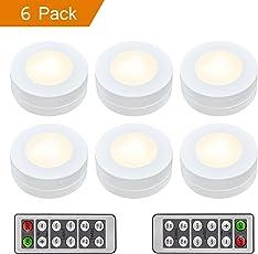 Schrankleuchten LED Nachtlicht mit Fernbedienung, Unterbauleuchten, Kabinett Beleuchtung, Treppen Licht Wandbeleuchtung Schrank Lichter für Flur, Schlafzimmer, batteriebetrieben und 3M Klebend, 6er