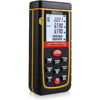 Tacklife Télémètre Laser Numérique 80m Avancé avec LCD rétro-éclairage Metre Laser calcule Distance Surface Volume pour Bricolage avec 2 piles et Sac de Protection