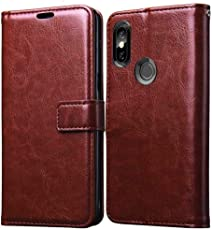 FancyArt Luxury Leather Premium Wallet Flip Cover Case for Mi Redmi 6 Pro - Walnut Brown