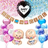 KKSJK Baby Gender Reveal Party Decoration Set, Girl or Boy Gender Reveal Balloon with Confetti, Baby Foil Balloon, Boy or Gir