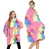 L&ieserram Oversized Blanket Hoodie Fluffy Fleece Hoodie Blanket for Women Men Kids Wearable Hooded Blanket with Big Pocket