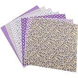 TOPINCN 7 Pezzi 50 x 50 cm Tessuti di Cotone per Fai da Te, Motivo Floreale a Pois Quadrati Pre-Tagliati Tessuto di Cotone tr