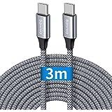 Câble USB C vers USB C 3m, Baiwwa Long Cable USB Type C Charge Chargeur Rapide PD 60W Nylon pour Samsung Galaxy S21 S20 S10 U