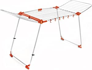 Bathla Steel Mobidry Compact Foldable Clothes Drying Stand with Frame and Built-in Hooks, Medium, White and Orange