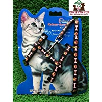 PSK Cat Harness, Adjustable Harness Nylon Strap Collar with Leash, Cat Leash and Harness Set, for Cat and Small Pet…