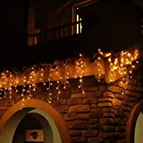 Eisregen Lichterkette Außen 200er LED 5m, LED Lichtervorhang mit Timer, IP44 wasserdicht 8 Modi für Innenausstattung Außenber