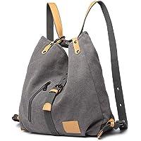 KONO Damen Canvas Handtasche Rucksack Frauen Schultertasche Shopper Tasche Vintage Hobo Umhängentasche für Arbeit Schule…