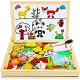 COOLJOY Puzzles de Madera Magnético, Tablero de Dibujo de Doble Cara, Puzzles Rompecabezas Magnéticos de Madera para Niños Ni