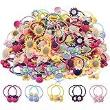 100 Piezas Mezcla de colores Lazos para el Cabello para niñas Bandas de goma suave Bandas para el cabello Soportes de cola de