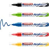 edding 5100 acrylmarker medium - zwart rood blauw geel geel-groen - set met 5 acrylkleuren (basis) - medium ronde punt 2-3 mm