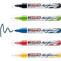 edding 5100 Marqueur acrylique - noir, rouge, bleu, jaune, vert jaune - 5 couleurs - pointe ogive 2-3 mm - peinture…