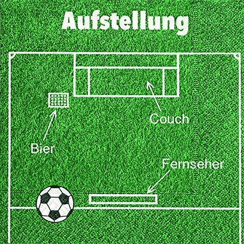 20 Serviette Fussball Aufstellung 33x33 cm, 3-lagig, 1/4 gefaltet auf 16,5x16,5 cm
