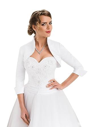 Wedding Satin Shrug Bridal Bolero Jacket with Three Quarter Sleeve ...