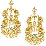 Zaveri Pearls Gold Tone Kundan & Pearls Dangle Earring For Women-ZPFK7820