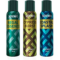 Amazon Brand - Solimo No Gas Deodorant - Pack of 3 (Regal Essence, Cypress Burst, Coastal Splash)