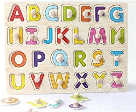 Baybee Wooden Alphabet Puzzle with knobs (Capital letters)