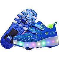 XUEJETEU LED Luci Brillantini Scarpe Sportive con Rotelle per Bambini Ragazze e Ragazzi Retrattile USB Carica Doppio…