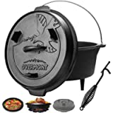 Overmont 5.7L/6 Quart(Pot body+lid) All-Round Dutch Oven Dual Function Lid Griddle with Lid Lifter Camping Pre Seasoned…