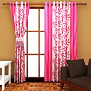 Cozyland Super India Floral Polyester Window Curtain - 5ft, Pink