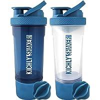 KICHLY [Pack de 2] Shaker proteines avec boule mélangeuse (700ml, 24Oz) - Bouchon anti-fuite avec Conteneur de stockage…