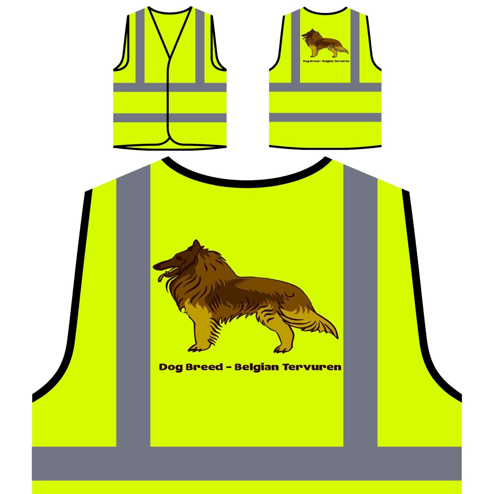 Dog Breed Belgian Tervuren 1 Personalized Hi Visibility Yellow Safety Jacket Vest Waistcoat s793v