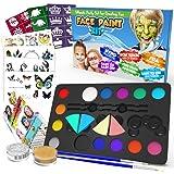 Desire Deluxe Kit Truccabimbi Set Colori per Il Viso Tavolozza con Glitter, Stencil e Tatuaggi per Bambini, Ragazzi e Ragazze