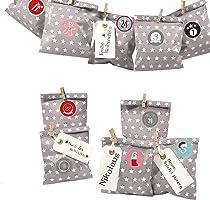 Frau WUNDERVoll® DIY Adventskalender zum Befüllen Bescherung: Flache Papiertüten, Taupe
