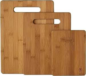 Lot de 3 planches /à d/écouper et /à servir en bambou L/éger compact pour le rangement solide et magnifiquement fabriqu/é