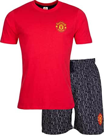 Manchester United F.C. Mens Pyjamas Cotton Pjs Official Football Gifts For Men