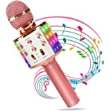 Micrófono Karaoke Bluetooth, Wireless Microfono Inalámbrico Karaoke 4 en 1 con Altavoz PortáTil con Luz LED Multicolor Partid