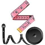 شريط قياس قياس من شريطين للجسم نسيج خياط قماش الحياكة بمقاسات منزلية الصنع، 152.4 سم، لون وردي ناعم وشريط أسود قابل للسحب، مج