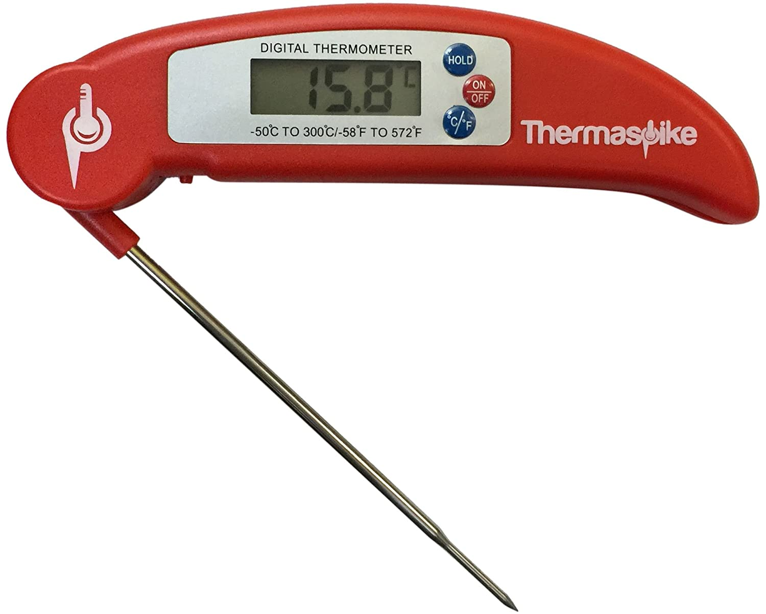 official thermaspike ultra fast food and meat thermometer and temperature gauge free battery white instant reading great for bbq liquids
