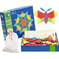 ICW Pattern Building Blocks - Wooden Educational Toys for Kids - 130 Pieces - 3 Years and Above- Multi Color