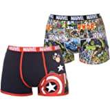 Mens 2 Pack Boxer Shorts Marvel Comics Book Stripe Magazine Apparel Avengers Movie Black Red Underwear X-Large, Marvel 2 Pack