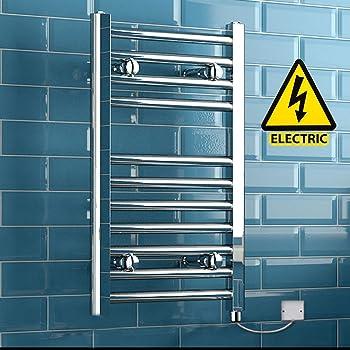 iBathUK 650 x 400 Electric Chrome Heated Towel Rail Bathroom Radiator - All Sizes RE111