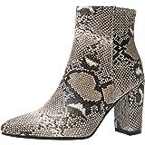 Garggi Donna Tacco A Blocco Polacchine Snakeskin Appuntito Boots Zip