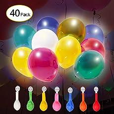 KINGTOP LED Leuchtende Ballon, 40 Stück LED Ballons,für Valentinstag Dekoration, Party, Hochzeit, Weihnachten, Jahrestag Feierlichkeiten, 10 Stunden Leuchtdauer.