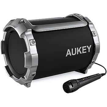 AUKEY Casse Bluetooth 21W Altoparlante Wireless Portatile Stereo con Microfono da Esterno Bassi Forti FM Radio con la Funzione di Aux-In (Nero, SK-M17)