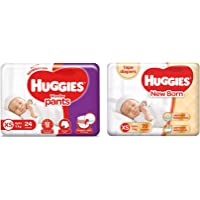 Huggies Wonder Pants, Extra Small (XS) Diapers, 24 Count & New Born Taped Diapers (72 Counts)