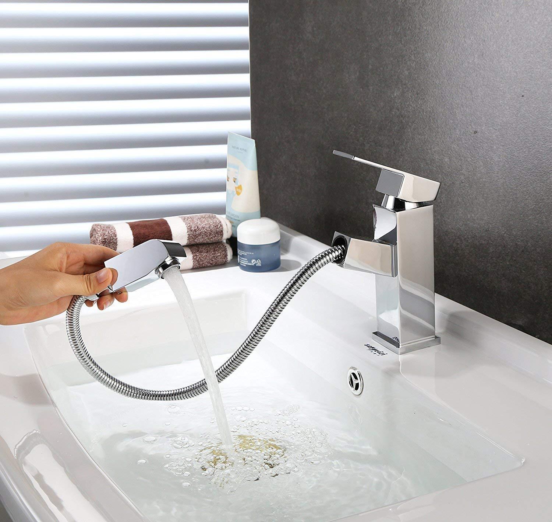 HOMFA Grifo Extraible de Lavabo con Cabezal de Ducha Grifo con Burbujeador de ABS Agua Caliente y Fría de para Cocina Baño Mezclador de Lavabo Cromado Puerto Estándar de 3/8 Pulgadas 15.6×17.5×4.1cm