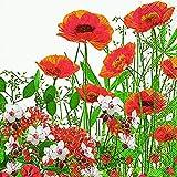 20 Servietten Rote Blumenwiese / Blumen / Mohnblumen / Garten 33x33cm