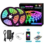 YOMYM LED Strip, LED Lights with Light Strip Kit controlled by WiFi 5050 wireless smart phone, Working with Android and...