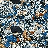 Stoffe Werning Viskosejersey Blumenmuster hellblau