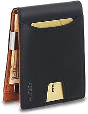 Kreditkartenetui mit Geldklammer aus Echtleder, ABILITH Kreditkartenhülle Portemonnaie Geldbörse Geldbeutel mit RFID Funktion Münzfach Kartenetui Slim Wallet Brieftasche Portmonee für 8 Karten