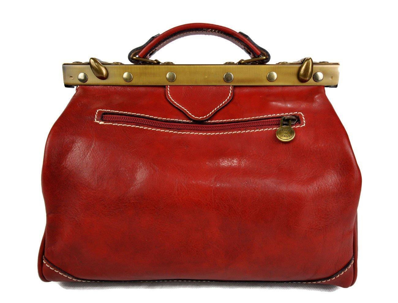 Ladies leather handbag doctor bag handheld shoulder bag medical purse red made in Italy - handmade-bags