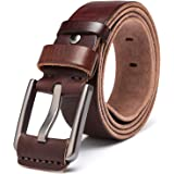 KeeCow Mens Leather Belt Full Grain Cowhide Cowboy Belts Great for Suits Jeans Casual and Formal Wear Up To 44inch Waist