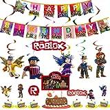 Juego temático Party Supplies Roblox Favor de fiesta Roblox Colgando remolinos Decoraciones Feliz Bithday Banner Giratorios G